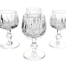 heavy crystal wine glasses cross and olive bamboo stem set of four