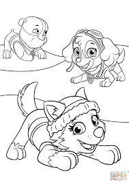 Coloring Page Everest Plays With Skye And Rubble Coloring Page Free