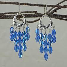 blue swarovski crystal chandelier earrings