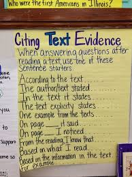Citing Evidence Anchor Chart I Would Use This Anchor Chart When Teaching Students About