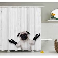funny shower curtain. Fritz Wooden Funny Bulldog Shower Curtain N