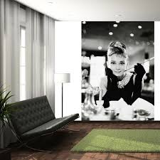 Wall Mural For Living Room Living Room Black And White Audrey Hepburn Living Room Wall