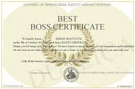 Best Boss Certificate