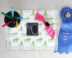 monogram lucite tray equestrian chinoiserie horse gift personalized colors acrylic desktop organizer