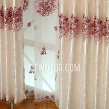Polyester Bedroom Romantic White Embroidered Curtains