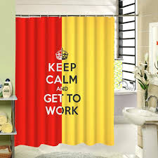 red fabric shower curtain keep calm and get to work inspiring custom fabric shower curtain red yellow polyester cloth red fabric shower curtain liner