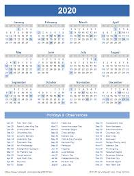 Printable Calendars 2020 With Holidays 2020 Calendar Templates And Images