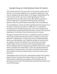 sample essay on international court of justice sample essay on international court of justice the international court of justice refers to the primary