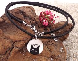 black cat fused glass necklace
