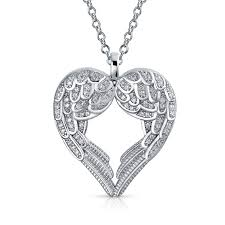 bling jewelry sterling silver pave cz heart guardian angel wing pendant necklace 18 inch