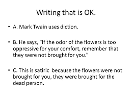 in ldquo at a funeral rdquo mark twain pokes fun at the social norms a mark twain uses diction