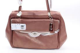 ... new style coach brown satchel with rose gold hardware coffee leather shoulder  bag 2cbd8 f8a95 ...