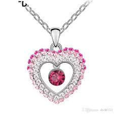 whole crystals heart pendant necklace made with crystal from swarovski elements for women birthday gift cute silver color jewelry 4648 silver jewellery