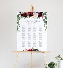 Etsy Wedding Seating Chart Wedding Seating Chart Template Printable Boho Merlot Blush Floral Seating Sign 100 Editable Text Instant Download 062 227sc
