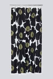 shower curtain with modern green and black fl pattern