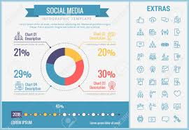 Chart On Social Media Social Media Infographic Template Elements And Icons Infograph