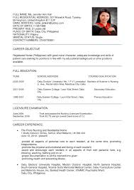 Sample Resume For Nurses With Experience In The Philippines Fresh
