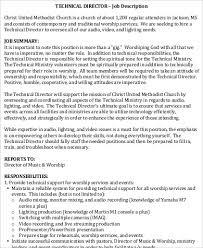 church technical director job description service director job description
