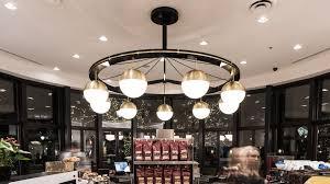 custom lighting installation for caffe artigiano