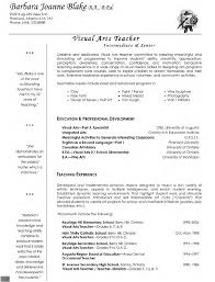 Gallery Of Visual Arts Teacher Resume Professional Pinterest