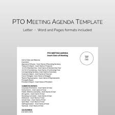 Agenda Formats Delectable PTA PTO Meeting Agenda Template Fully Editable And Instant Etsy