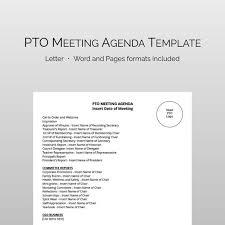 Meeting Agenda Word Template Interesting PTA PTO Meeting Agenda Template Fully Editable And Instant Etsy