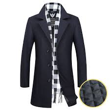 mens business casual thicken woolen trench coat manteau mi long à boutonnage