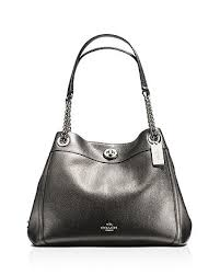 COACH - Metallic Leather Turnlock Edie Shoulder Bag