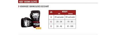 Boxing Glove Size Chart Venum Contender Kids Boxing Gloves