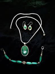 vintage silver pendant necklace bracelet earrings with semi precious stone malachite