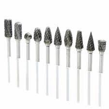 dremel diamond bits. 10pcs dremel carbide burrs drill bit set rotary burr micro bits for metal woodworking carving diamond