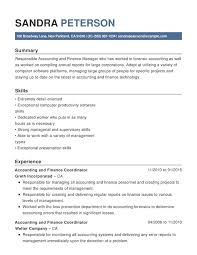 resume for an accountant accounting finance chronological resumes resume help