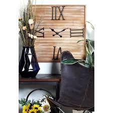 litton lane dark brown square wooden wall clock