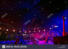 Festival Of Lights Canterbury Empty Stage And Microphones At A Spiegeltent Before An