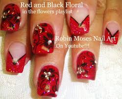 Black and Red French Manicure Flower Nail Art design Tutorial with ...