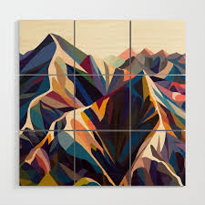 mountains original wood wall art by