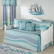 white lacquer oak wood daybed with white blue purple beach theme bed set added seashell and