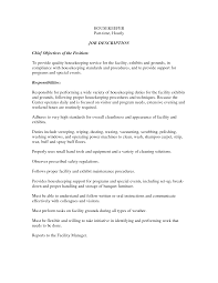 Resume For Housekeeping Position Hospital Sample Housekeeper Ex Sevte