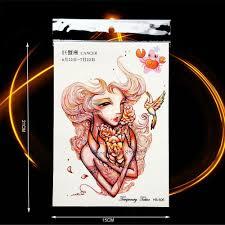 1 шт мода созвездие временные татуировки сексуальные рак леди цветок рука