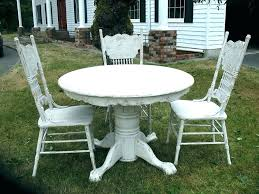 white distressed round dining table antique table