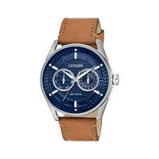 men s drive from citizen eco drive cto watch with brown leather strap