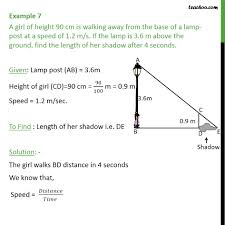 Street Light Height Measurements Example 7 A Girl Of Height 90 Cm Is Walking Away From