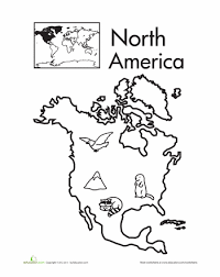 Small Picture Color the Continents North America Worksheets Social studies