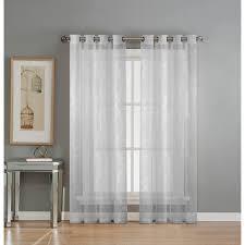 window elements sheer diamante cotton blend burnout sheer 84 in l grommet curtain panel pair
