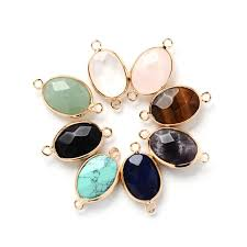 whole 13x18mm oval natural stone pendants charms with double hole for diy necklace bracelet earrings jewelry making round pendant necklace gold pendants