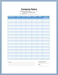 employee notes template excellent attendance sheet form for employees with blue table color