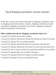 Hr Coordinator Cv Sample Top 8 Shipping Coordinator Resume Samples