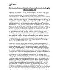 how far are romeo and juliet to blame for their deaths in the play page 1 zoom in