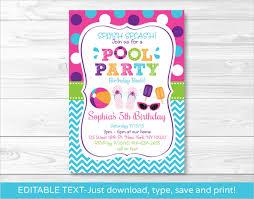 free printable blank pool party invitations. Beautiful Party Girls Pool Party Invitation Printable Template Download To Free Blank Invitations O