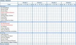 Printable Blank Childrens Chore Charts Blank Childrens